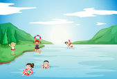 Kids swimming in water — Stock Vector