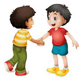 Kids shaking hands — Stock Vector