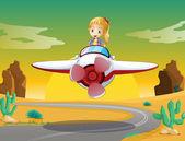 Girl in a aircraft — Stock Vector