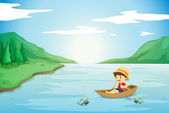 A boy rowing in a boat — Stock Vector