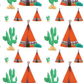 Tent and cactus — Stock Vector