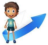 Boy, arrow and envelop — Stock Vector