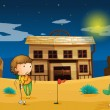 A boy playing golf infront of house — Imagen vectorial