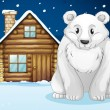 Polar bear infront of house — Stock Vector #13570243