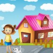 Stock Vector: A girl and cat infront of house