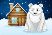Polar bear infront of house — Stock Vector