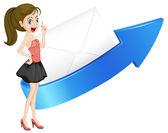 Girl, arrow and envelop — Stock Vector