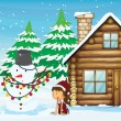 Snowman, girl and house — Stock Vector