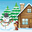Stock Vector: Snowman, girl and house