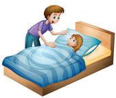 A boy and sleeping girl — Stock Vector