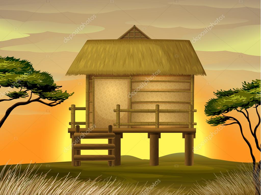 Illustration of a hut in beautiful nature — Stock Vector #13639195