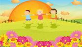 Kids and landscape — Vector de stock