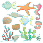 Sea animals and plants — Stock Vector