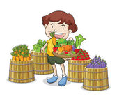 A boy and vegetables — Stock Vector
