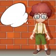 A boy and a speech bubble - Stock Vector