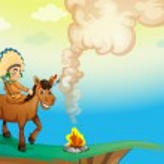 A boy riding a horse — Stock Vector #13822366