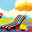 Relaxing chair and umbrella - Stock Vector