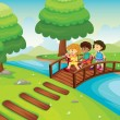Kids crossing bridge — Stock Vector