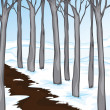 Snow covered woodland — Stock Vector