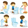 图库矢量图片: Kids and bathroom accessories