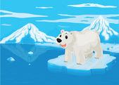 Polar bear and snowy mountain — Stock Vector