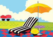 Relaxing chair and umbrella — Stock Vector