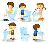 Děti a koupelnové doplňky — Stock vektor