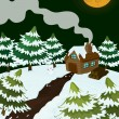 House in nature covered with snow — Stock Vector #13843974
