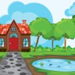 beautiful house and pond — Stock Vector