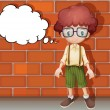 A boy thinking near wall - Stock Vector
