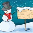Snowman in  snow land - Stock Vector