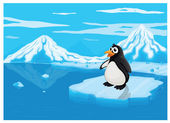 Penguine on ice lce land — Stock Vector