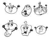 Vegetables sketch — Stock Vector