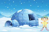 An igloo and a boy — Stock Vector