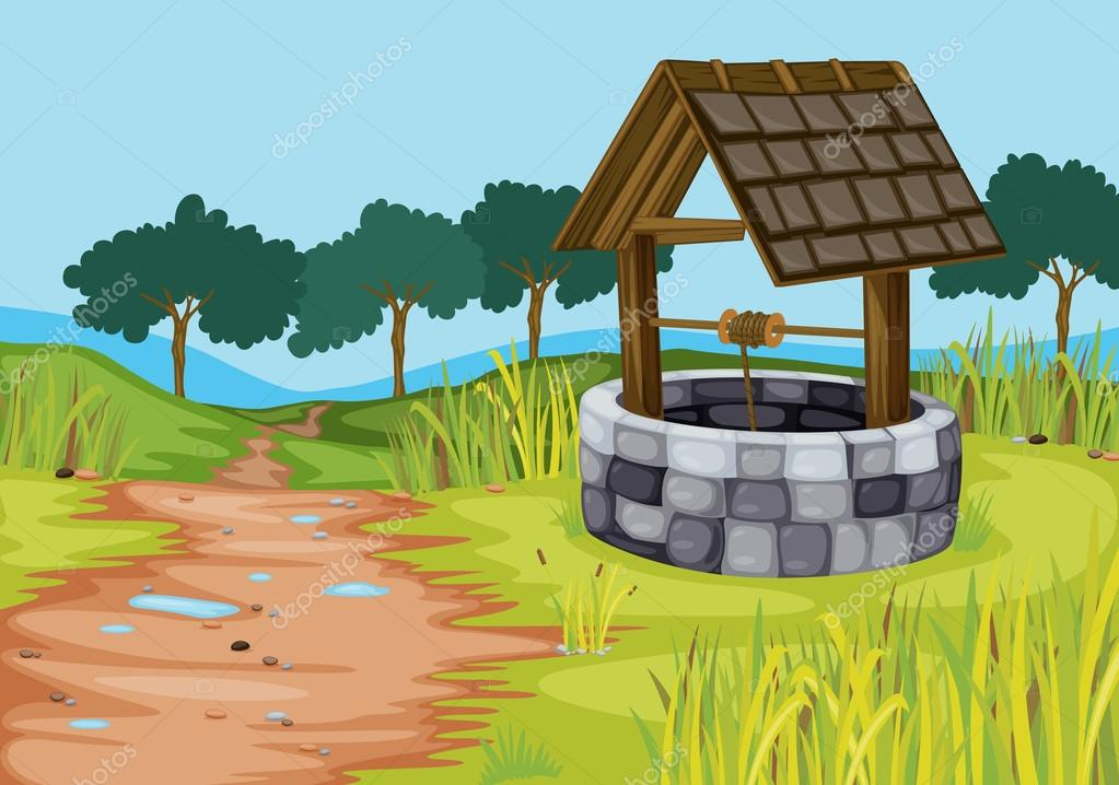 Detailed illustration of a well in beautiful farm — Stock Vector #13843977