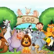 Stock Vector: Zoo and animals