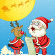 Santa claus and reindeer — Stockvektor