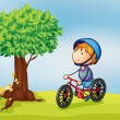 Stock Vector: A boy and a tree
