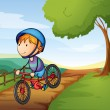 Stock Vector: A boy and a bicycle