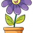 Stock Vector: A flower plant in a pot