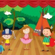 Kids on a stage - Stock Vector