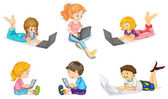 A laptop and kids — Stock Vector