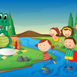 Kids and crocodile at picnic — Image vectorielle