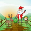 Stock Vector: A santa claus and a reindeer