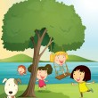 Girls playing under tree — Imagen vectorial