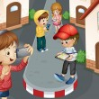 Stock Vector: Kids on road