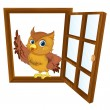Bird in a window — Stock Vector
