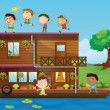 Kids playing near a houseboat — Stock Vector