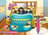 Kids and big bag — Stock Vector