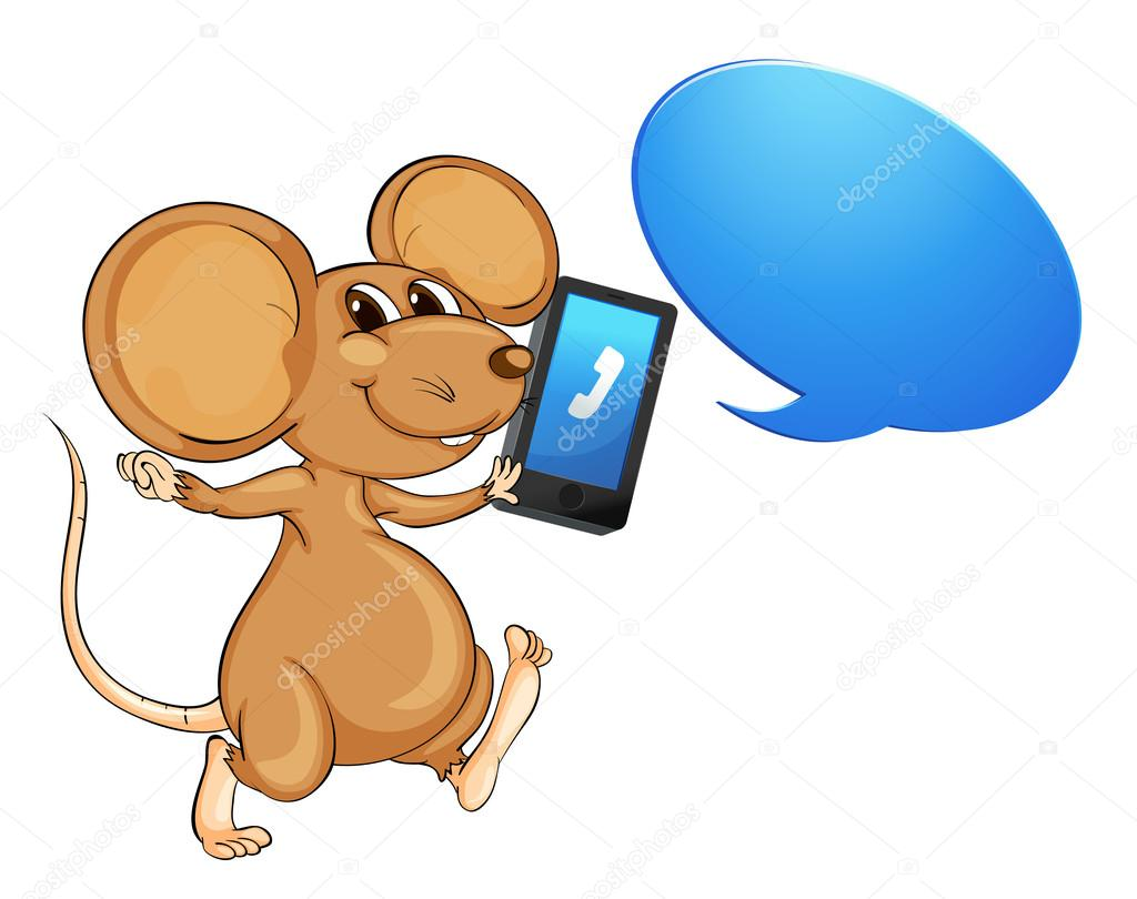 Illustration of a mouse, a mobile and callout on white — Stock Vector #13900211